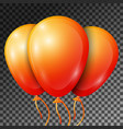 realistic orange balloons with ribbons isolated vector image