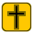 Religious cross button vector image vector image