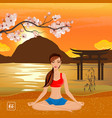 sakura and yoga composition vector image