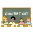 Schoolgirls and schoolboys at the blackboard vector image vector image