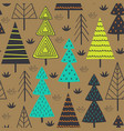 seamless pattern with spruces in the forest vector image
