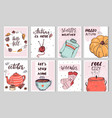 set eight cute autumn cards with simple vector image vector image