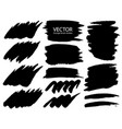 set of brush strokes black ink grunge vector image vector image