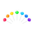 set rainbow colored round lollipops vector image