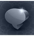 Shining 3d chat bubble symbol on grey background vector image vector image