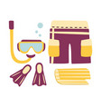 shorts fins snorkel and mask for diving vector image vector image