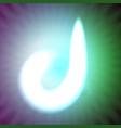 single light blue neon letter d of vector image