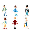 six fashionable characters vector image