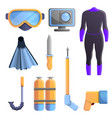 snorkeling equipment icons set cartoon style vector image