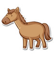 sticker design with cute horse isolated vector image vector image