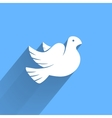 stylized pigeon peace white icon with long vector image