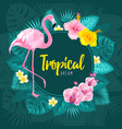 summer tropical round frame design vector image vector image