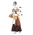 The girl in Gypsy dress Boho style Linear vector image vector image