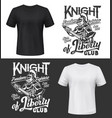 tshirt print with knight put sword in sheath vector image