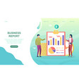 two colleagues are making business report vector image