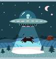 ufo with alien abducting a cow summer night farm vector image