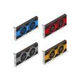 video card set of mining bitcoin vector image vector image