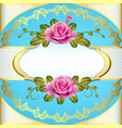 vintage frame background with roses and golden vector image