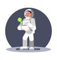 woman cosmonauts hand computer vector image vector image
