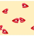 Beige seamless pattern with red lips vector image
