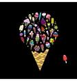 Big icecream sketch for your design vector image