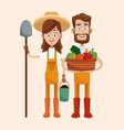couple farmers vegetable basket shovel vector image