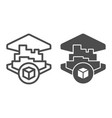 3d printing building line and glyph icon 3d house vector image vector image
