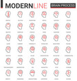 brain process flat thin red black line icons vector image vector image