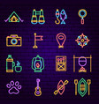 camping neon icons vector image