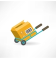cargo box on the cart icon vector image vector image
