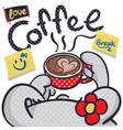 cartoon rabbit girl holding cup coffee vector image vector image