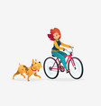 cartoon young redhead woman vector image vector image