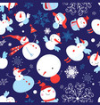 christmas color pattern funny snowmen on a vector image vector image