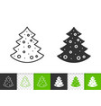 Christmas tree simple black line icon
