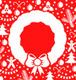 christmas wreath red vector image