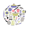 colored kitchenware set on white background round vector image vector image