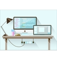 Creative office desktop workspace Flat design vector image