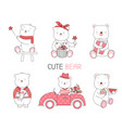 cute baanimal with flowercar cartoon style vector image