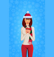 cute girl with long brown hair dressed in santa vector image vector image