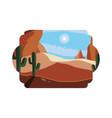 desert dry with cactus landscape scene vector image