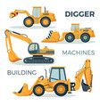 digger and machines for building isolated cartoon vector image