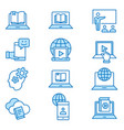 e-learning distance education flat line icon set vector image vector image