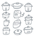 electric cooker set vector image
