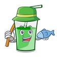 fishing green smoothie mascot cartoon vector image vector image