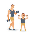 flat man and kid boy doing dumbbell workout vector image vector image