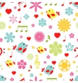Flowers birds and music notes seamless pattern vector image vector image