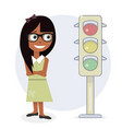 girl and traffic light vector image vector image