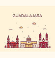 guadalajara skyline jalisco mexico a linear vector image