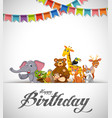 happy birthday animals card vector image
