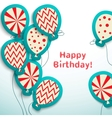 Happy birthday retro postcard with balloons vector image vector image